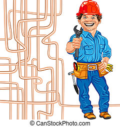 vector cheerful locksmith plumber in the red helmet