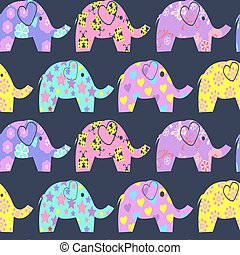 Cheerful Seamless Pattern with colorful cute elephants