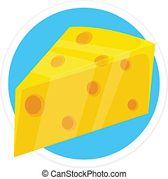 Vector Cheese Flat Round Icon