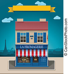 Detailed icon representing old European style cheese shop building