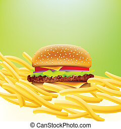 cheeseburger on a bed of fries with soft greeen background