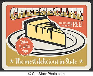 Vector cheesecake dessert for pastry retro poster -...