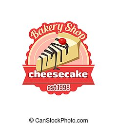 Vector cheesecake dessert icon for bakery shop - cheesecake...