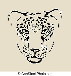 Vector cheetah pencil portrait on white background