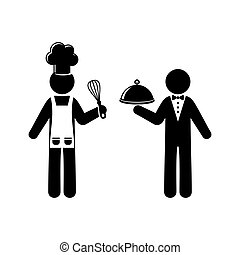 Vector chef and waiter figures