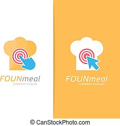 Vector chef hat and click logo combination. Menu and cursor symbol or icon. Unique restaurant and bakery logotype design template.