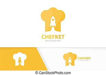 Vector chef hat and rocket logo combination. Kitchen and airplane symbol or icon. Unique cook and flight logotype design template.