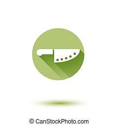 Vector chef knife simple flat long shadow icon