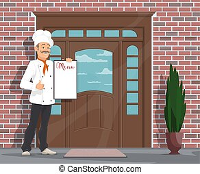Vector chef man with menu inviting to restaurant