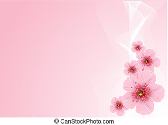 Vector Cherry blossom arrangement, against pink background