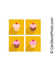 Vector  cherry cupcake flat icon