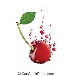 Vector Cherry Falling in Liquid