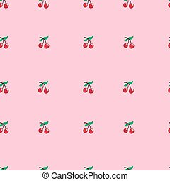 Vector cherry seamless pattern. Food background