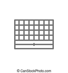Vector chess board, portable game line icon.