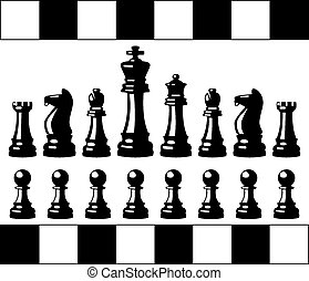 vector chess pieces - vector set of black and white chess...