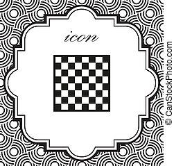 Vector chessboard icon on a geometric background of eps