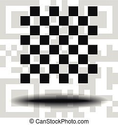Vector chessboard icon the background QR code