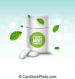 Vector chewing gum package box and green mint for fresh...