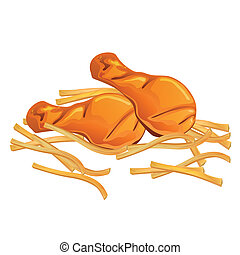 Vector Chicken Wings and French Fries - Vector Illustration ...