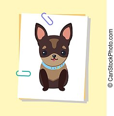 vector, chihuahua, puppy, illustratie, kraag