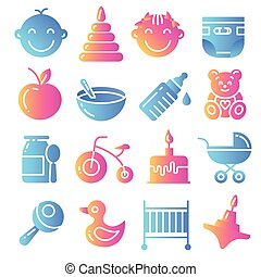 vector childhood icons set