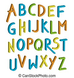 Vector children font. Colorful alphabet. Letters in child style. Cartoon ABC