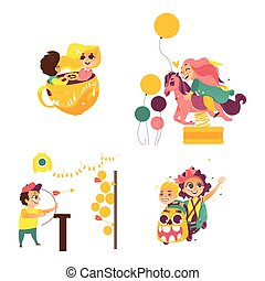 vector children in amusement park set