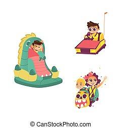 vector children in amusement park set