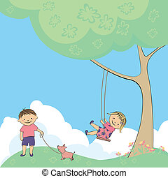 vector children playing in nature