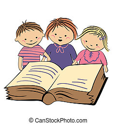 vector children reading a book