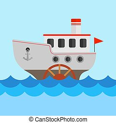 Vector children's drawing of a steamship. The ship sails on the sea. Vector illustration