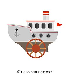 Vector children's drawing of a steamship. Vector illustration isolated on white background