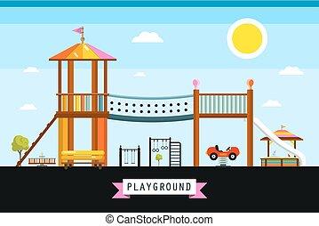 Vector Children's Playground Cartoon