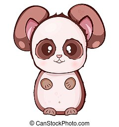 Vector child's drawing, brown panda with a beige muzzle and belly on a white background
