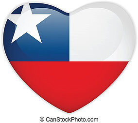 Chile Flag Heart Glossy Button - Vector - Chile Flag Heart...