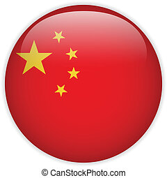 China Flag Glossy Button - Vector - China Flag Glossy Button