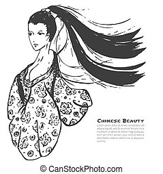 Vector chinese calligraphic ink beautiful woman sketch