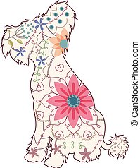 Chinese crested dog vintage - Vector Chinese crested dog...