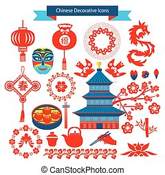 Vector Chinese decorative icons and chineese travel symbols...