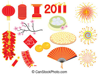 Chinese new year elements on - Vector Chinese new year...