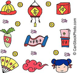 Vector Chinese New Year of doodles