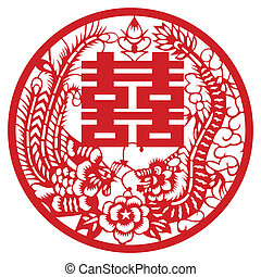 dragon and Phoenix - Vector Chinese traditional design of...