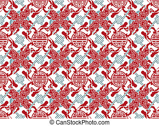 Vector chinese traditional meshed pattern - symbol and smoke...