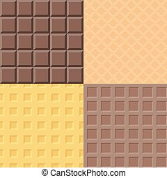 Vector chocolate and waffle pattern