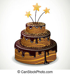 Vector Chocolate Cake - Vector Illustration of a Sweet...