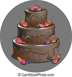 Vector chocolate cake with berries