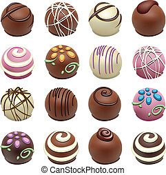 vector chocolate candies - vector set of chocolate candies