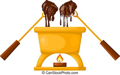Vector Chocolate fondue with a candle on a white background. Capacity, two forks, two pieces of bread and chocolate. Vector illustration