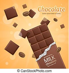 Vector Chocolate Package Bar Blank - Milk pieces - Chocolate...
