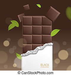 Vector Chocolate Package Bar Blank - Dark pieces and Mint...